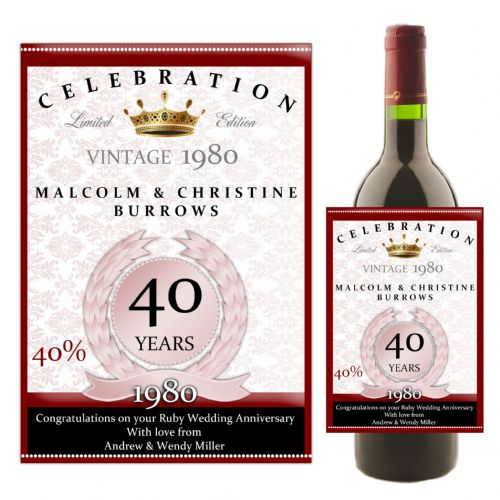 Personalised Ruby 40th Wedding Anniversary Wine / Champagne Bottle Label N34